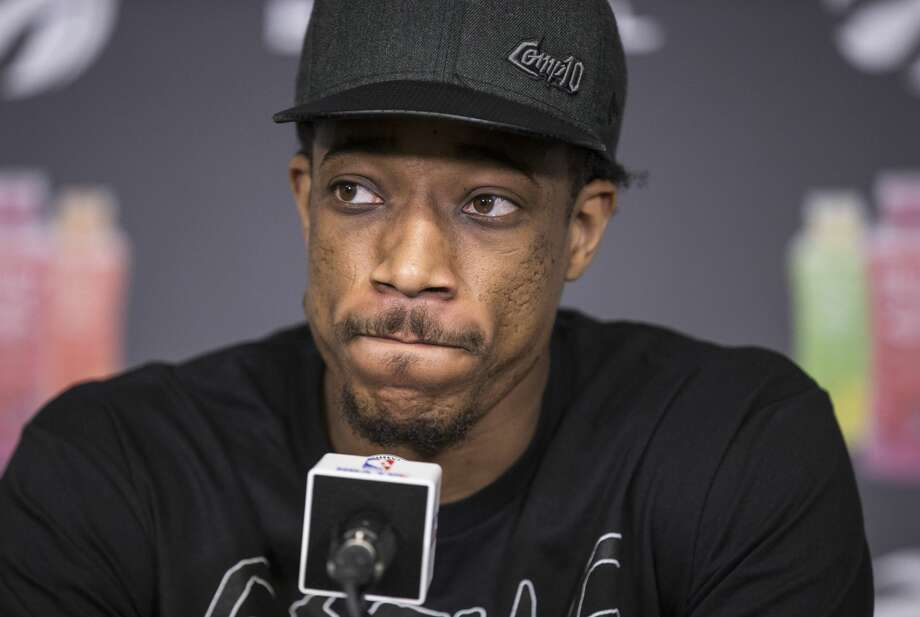 FILE - Toronto Raptors DeMar DeRozan talks to the media during a season ending availability after the Raptors ended their season, losing in a four game sweep to the Cleveland Cavaliers. Photo: Bernard Weil/Toronto Star Via Getty Images