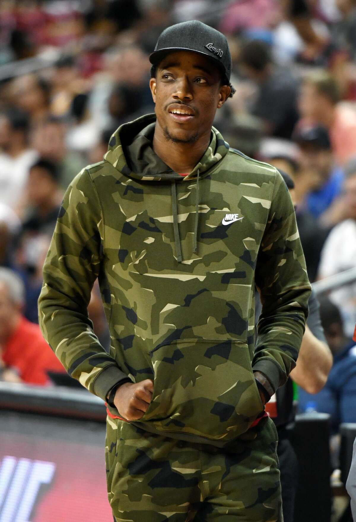 DeMar DeRozan of the Toronto Raptors attends a 2018 NBA Summer League game between the Raptors and the New Orleans Pelicans at the Thomas & Mack Center on July 6, 2018 in Las Vegas, Nevada.
