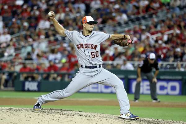 AL pitcher Charlie Morton of the Houston Astros and delivers during the seventh inning against the National League during the 89th MLB All-Star Game at Nationals Park on Tuesday.