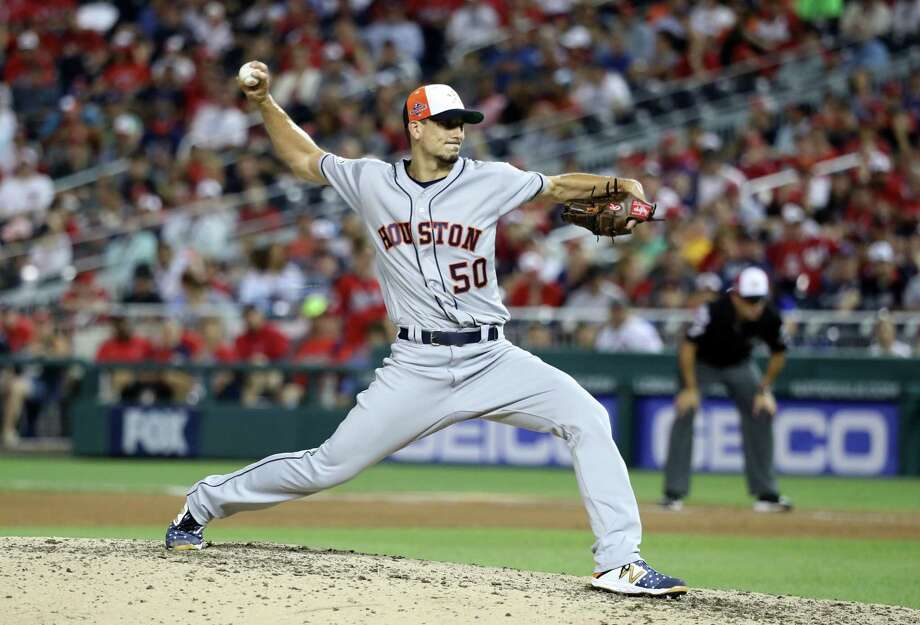 AL pitcher Charlie Morton of the Houston Astros and delivers during the seventh inning against the National League during the 89th MLB All-Star Game at Nationals Park on Tuesday. Photo: Rob Carr / Getty Images / 2018 Getty Images