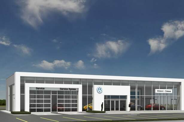 "This rendering provided by Volkswagen of Midland Odessa shows what the business' future dealership building will look like. A groundbreaking took place Thursday, July 19, 2018. The building is Volkswagen's ""white frame"" design."