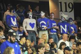 "Fans paint their chests with the message ""We love Geno"" during No. 1 UConn's 86-71 win over No. 4 UCLA in the 2017 NCAA Division I Women's Basketball Championship Regional Semifinal game at Webster Bank Arena in Bridgeport, Conn. Saturday, March 25, 2017."