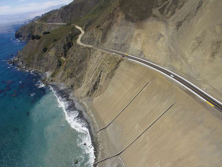 The new Highway 1 road at Mud Creek, Calif., on iptcdow}, July 18, 2018, in Mud Creek, Calif. The road is open for the first time since last year's Mud Creek slide.