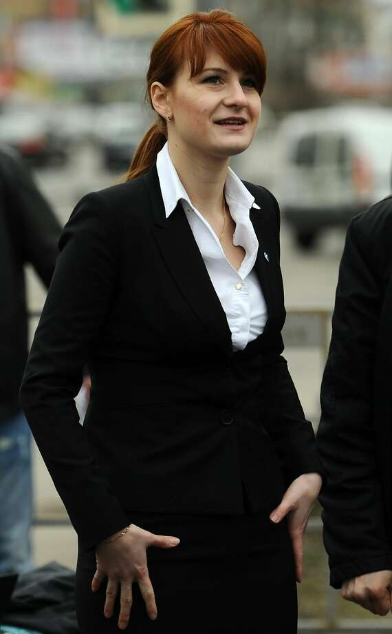 In this file image, Maria Butina attends a rally at Krasnopresnenskaya Zastava Square in support of legalizing the possession of handguns and gun ownership on April 23, 2013 in Moscow, Russia. Butina has been charged with spying for Moscow in the US by infiltrating the National Rifle Association (NRA) in an attempt to influence the Republican party and American politics. (ITAR-TASS/Zuma Press/TNS) Photo: Anton Novoderezhkin/ITAR-TASS, TNS