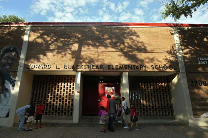 Students arrive for school at Edward L. Blackshear Elementary School Tuesday, May 15, 2018, in Houston. Blackshear Elementary is one of the ten Houston Independent School District's schools that could close or be taken over by the state. ( Godofredo A. Vasquez / Houston Chronicle )