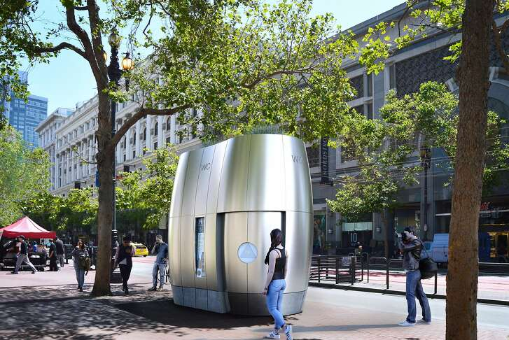 A rendering of the proposed update to San Francisco's public toilets. Instead of the current mock-Parisian look, they'd have a streamlined futuristic air. The conceptual idea has been received warmly by city design reviewers.