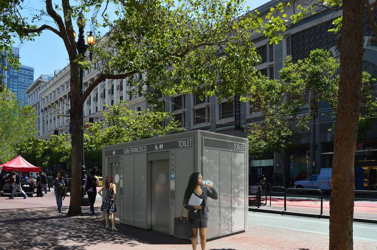 A rendering that shows one of the updated public toilets as it would appear on Market Street if a new contract with French firm JCDecaux is approved by the Board of Supervisors.