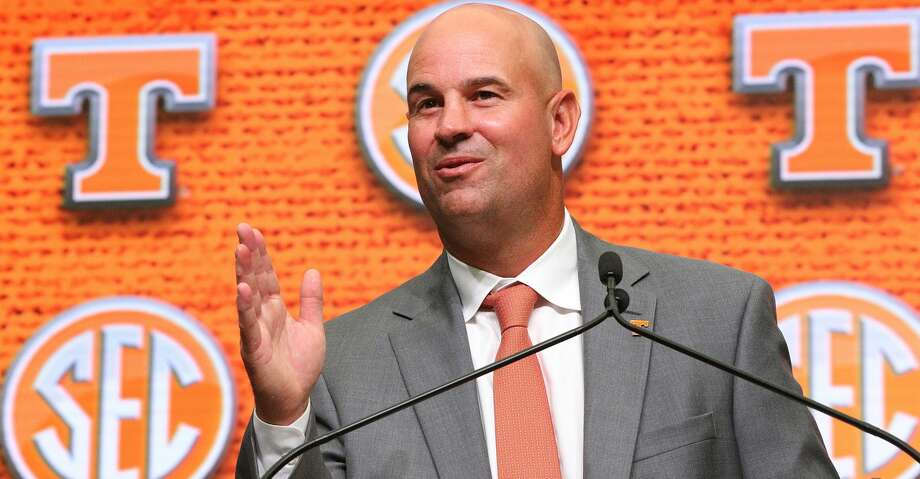 Tennessee head coach Jeremy Pruitt holds his SEC Media Days press conference at the College Football Hall of Fame on Wednesday, July 18, 2018, in Atlanta, Ga. (Curtis Compton/Atlanta Journal-Constitution/TNS) Photo: Curtis Compton/TNS
