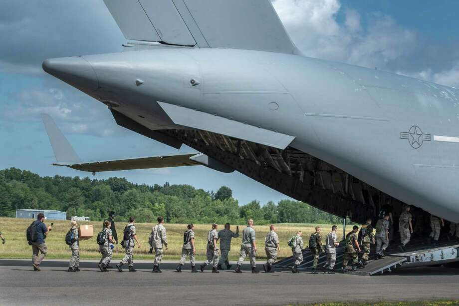 Fifty Civil Air Patrol cadets attending the Civil Air Patrol annual encampment got the chance to ride with the 139th Aeromedical Evacuation Squadron on a C-17 Globemaster III aeromedical evacuation training flight based in Stewart Air Force Base on Wednesday July 18, 2018 at the Stratton Air Base in Scotia, N.Y. (Skip Dickstein/Times Union) Photo: SKIP DICKSTEIN / 20044366A