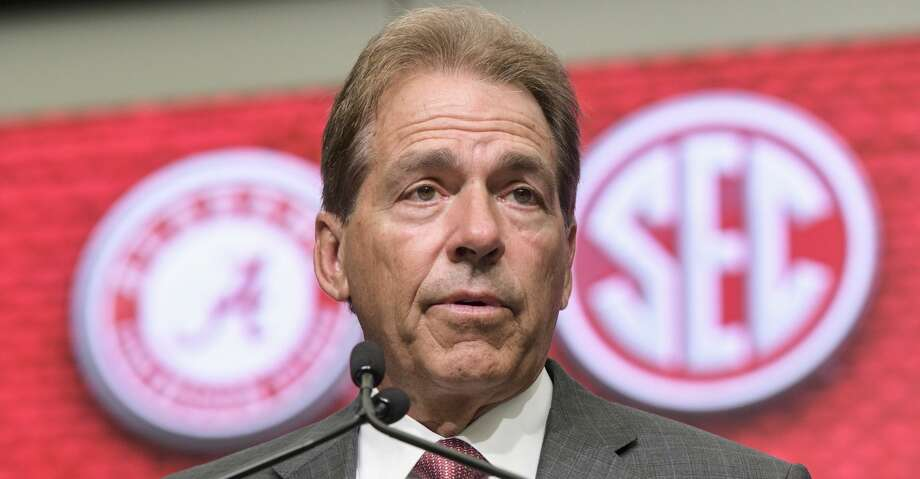 NCAA college football head coach Nick Saban of Alabama speaks during the Southeastern Conference Media Days at the College Football Hall of Fame in Atlanta, Wednesday, July 18, 2018. (AP Photo/John Amis) Photo: John Amis/Associated Press