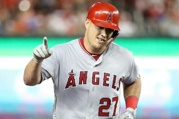 WASHINGTON, DC - JULY 17:  Mike Trout #27 of the Los Angeles Angels of Anaheim and the American League celebrates after hitting a solo home run in the third inning against the National League during the 89th MLB All-Star Game, presented by Mastercard at Nationals Park on July 17, 2018 in Washington, DC.  (Photo by Rob Carr/Getty Images)