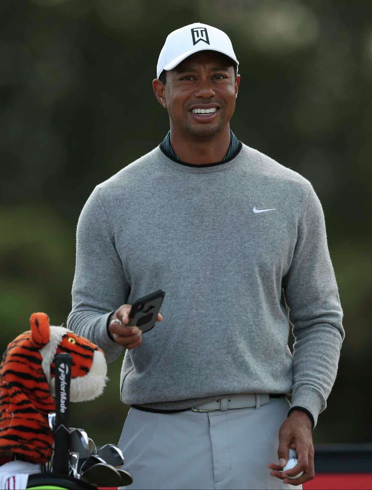 Tiger Woods of the US prepares to tee off the 13th hole during a practice round ahead of the British Open Golf Championship in Carnoustie, Scotland, Wednesday July 18, 2018. (AP Photo/Jon Super)