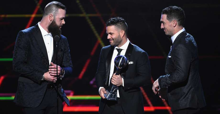 PHOTOS: A look at the celebrities and athletes at the ESPY Awards show LOS ANGELES, CA - JULY 18:  (L-R) MLB players Dallas Keuchel, Jose Altuve and Alex Bregman of the Houston Astros accept the award for Best Team onstage at The 2018 ESPYS at Microsoft Theater on July 18, 2018 in Los Angeles, California.  (Photo by Kevork Djansezian/Getty Images) Browse through the photos above for a look at the athletes and celebrities at the ESPY Awards show. Photo: Kevork Djansezian/Getty Images