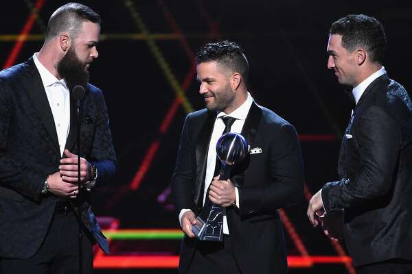 LOS ANGELES, CA - JULY 18:  (L-R) MLB players Dallas Keuchel, Jose Altuve and Alex Bregman of the Houston Astros accept the award for Best Team onstage at The 2018 ESPYS at Microsoft Theater on July 18, 2018 in Los Angeles, California.  (Photo by Kevork Djansezian/Getty Images)