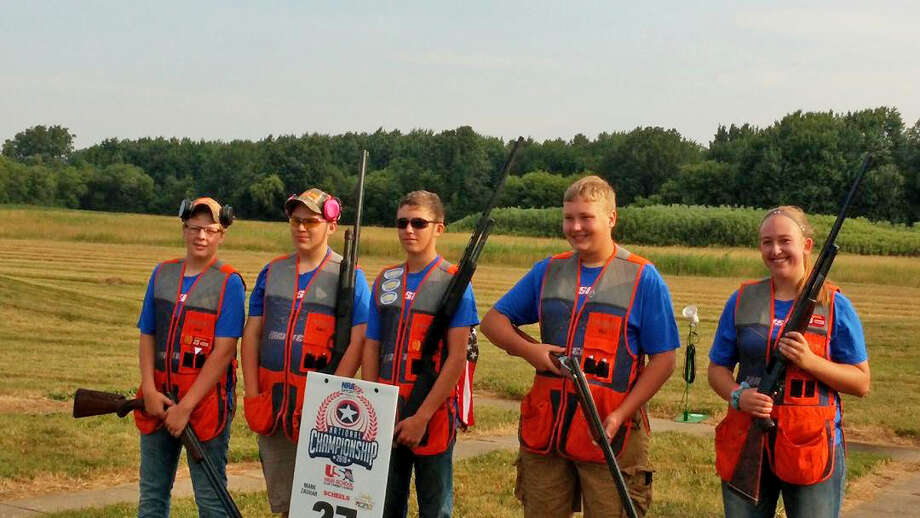 The Unionville - Sebewaing Area School District's Clay Target Club is less than a year old, but they did well in their first competitions. Team members who participated in the preliminary competition at the United States High School Clay Target League National Tournament were athletes (l-r) Avery Kuhl, Hunter Hines, Nick Ewald, Evan Volz, and Haleigh Holdwick. Photo: Submitted Photo