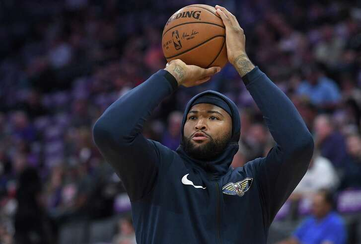 DeMarcus Cousins #0 of the New Orleans Pelicans warms up prior to the start of an NBA basketball game against the Sacramento Kings at Golden 1 Center on October 26, 2017 in Sacramento, California.
