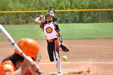 Pitcher Claudia Garza and the Lady Giants Pony 14U team were one of three local squads to pick up a Day 1 win in pool play at the 2018 PONY League South Zone World Series in Laredo on Wednesday.