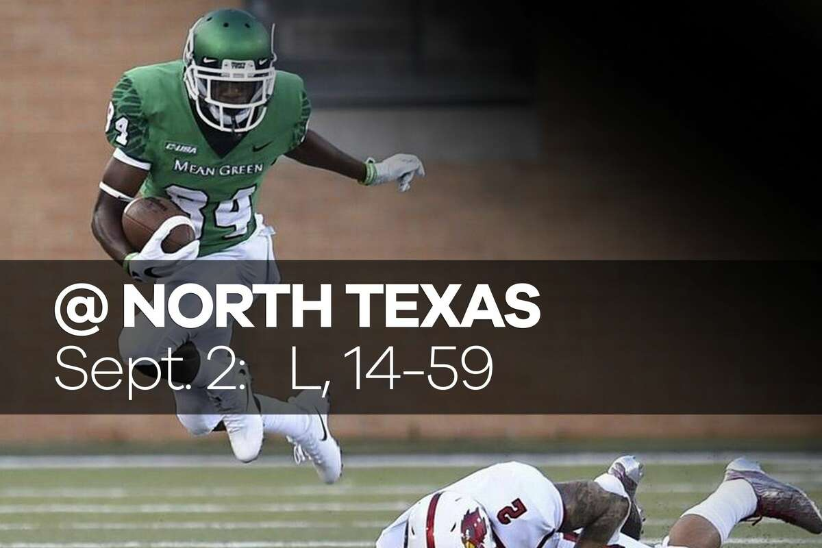 LAMAR AT NORTH TEXAS Sept. 2, 2017 Result: Lost 14-59 Recap: The Lamar University football team fell in coach Mike Schultz's debut, 59-14, to North Texas on Saturday at Apogee Stadium in Denton. The Cardinals (0-1) never led and were outgained 668 to 266 by the Mean Green (1-0). The loss was the end of adverse week for Lamar, which went almost a week without a full practice and had to leave for Denton on Thursday because of Hurricane Harvey. (Danny Shapiro)