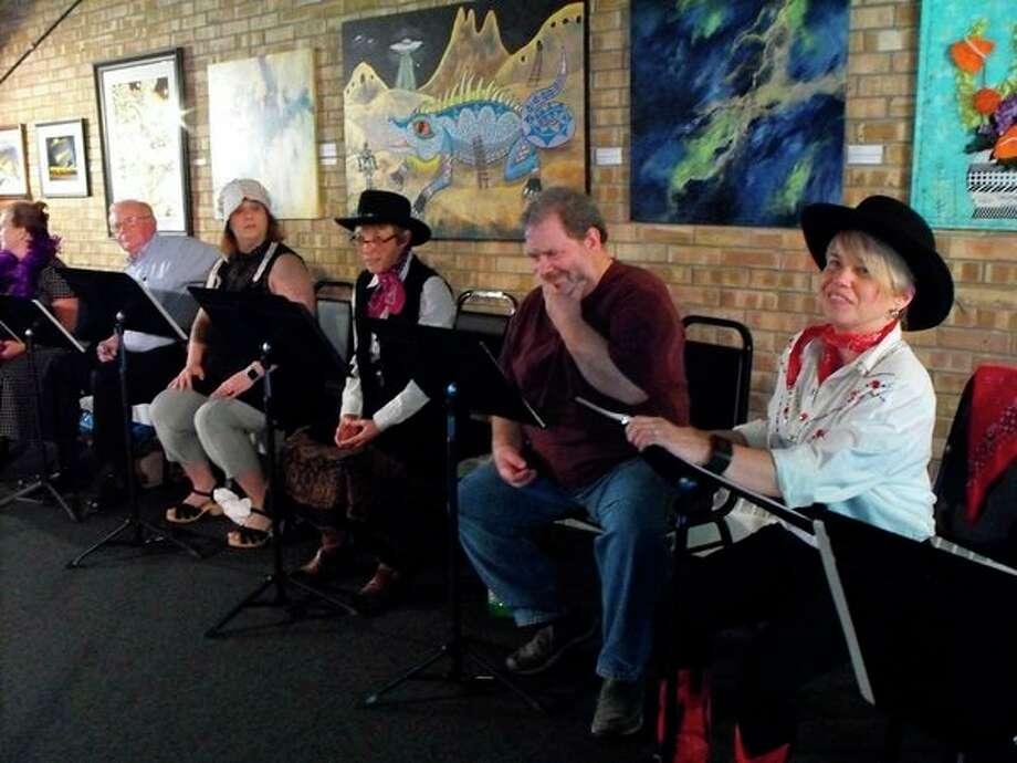 Terri Schroeder, Dick Gellum, Amy Sabourin, JoAnne Pobocik, Mark TurpinandTrena Winansin a rehearsal of Creative 360's Hawk of the West live radio drama. (photo provided)