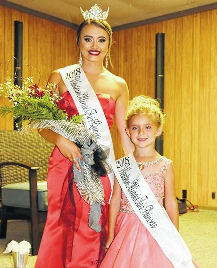 Western Illinois Fair Queen Michaelene Mays (left) and Princess Carley Peterson are both from Morgan County.