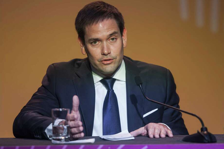 Sen. Marco Rubio, R-Fla., during a press conference at the CEO Summit of the Americas in Lima, Peru, on April 14, 2018. Photo: Bloomberg Photo By Guillermo Gutierrez. / © 2018 Bloomberg Finance LP