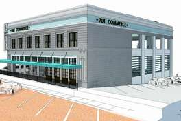A rendering showing the proposed changes to the former Spaghetti Warehouse building at 901 Main St.