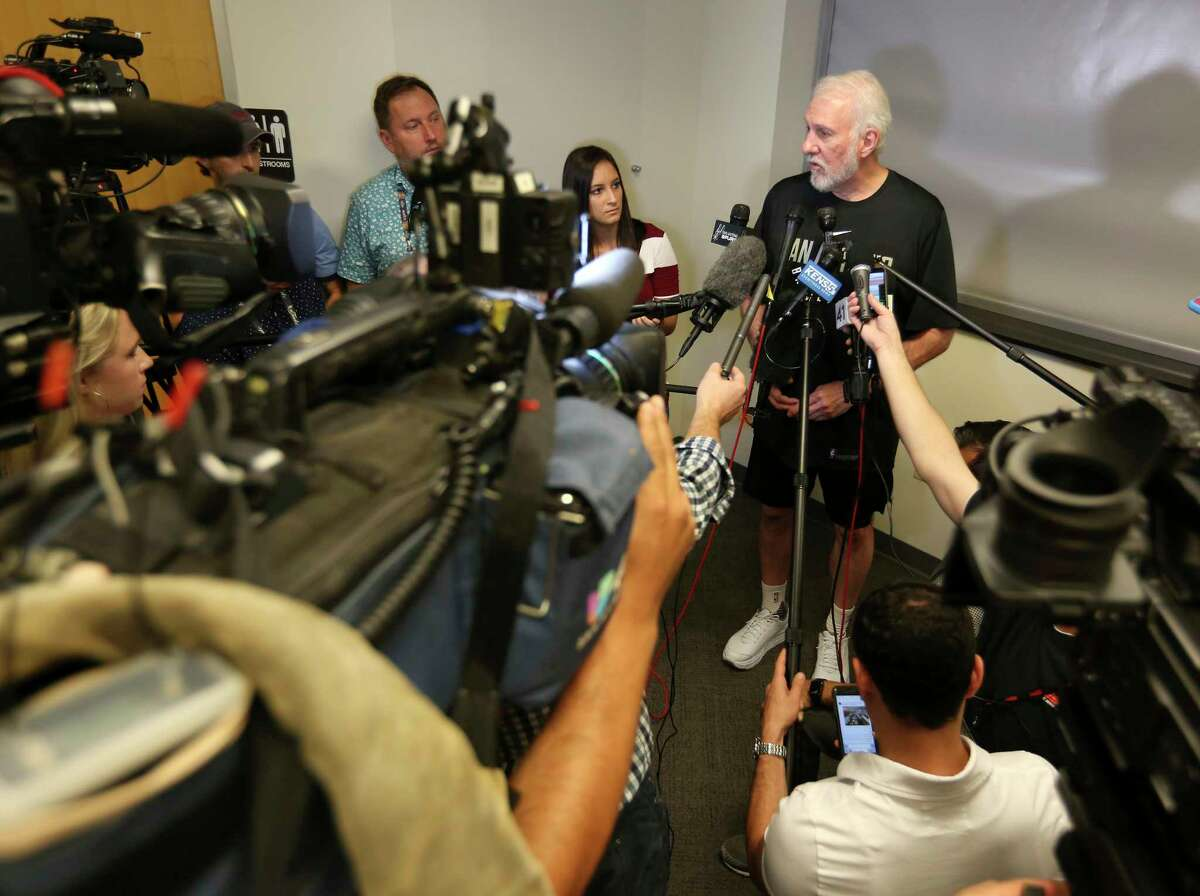 Spurs coach Gregg Popovich speaks Wednesday, June 18, 2018 to the media about the trades of forward Kawhi Leonard and guard Danny Green to Toronto in exchange for four-time All-Star DeMar DeRozan, center Jakob Poeltl and a protected 2019 first-round draft pick.