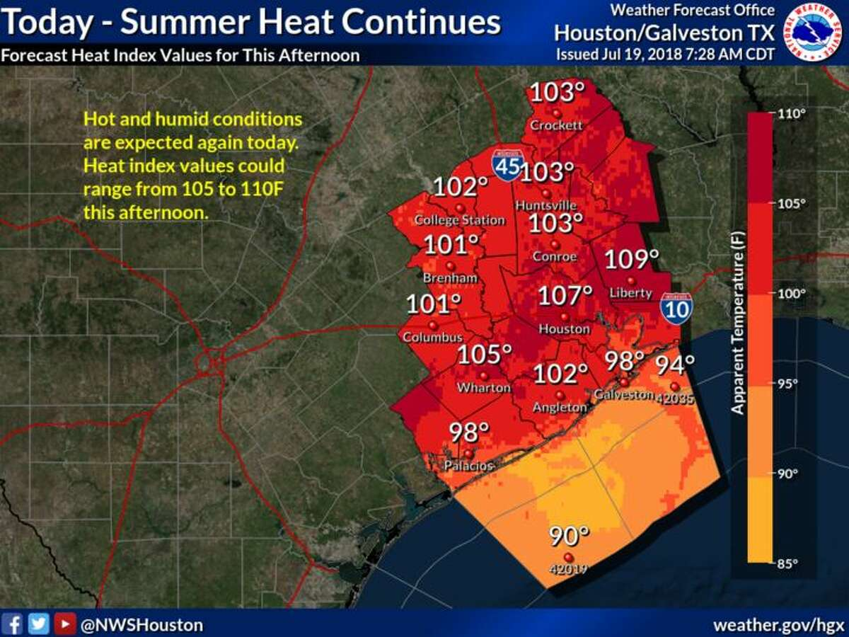 A map shows heat index estimates in southeast Texas, on Thursday, July 19, 2018. Keep clicking to see where you can escape the heat (or at least cool off) in Texas.