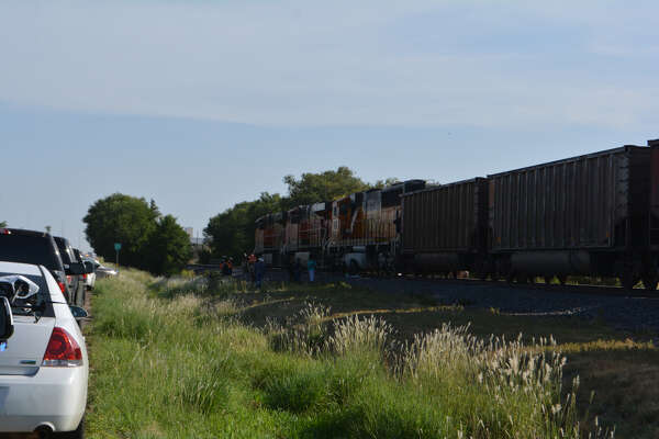 Officials say a pedestrian was hit by a train on N. Columbia St. Thursday morning.