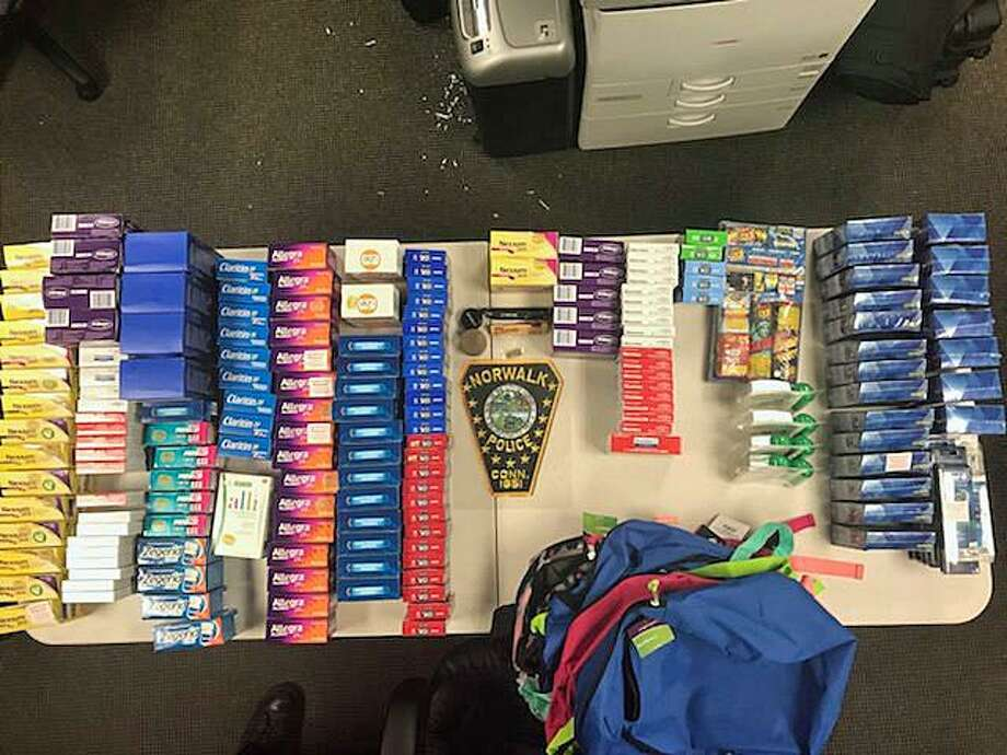 Four New York men were arrested on July 17, 2018 on charges of organized retail theft, third-degree larceny, possession of a shoplifting device, possession of marijuana and conspiracy. The men got the attention of police who observed suspicious activity at two Norwalk pharmacies. Among the items stolen were multiple boxes of teeth whitening strips, Claritin and Allegra allergy medicines, and Rogaine foam for fuller and richer hair. Photo: /