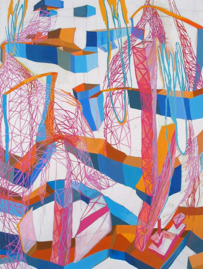 "Kathleen Thum's ""Chutes & Ladders"", gouache and graphite on paper,  30 x 22 inches, 2010."