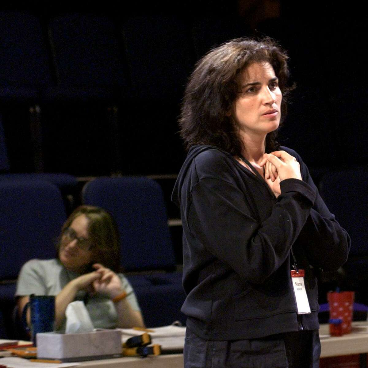 Director, Maria Mileaf (right) and playwright Susan Bernfield (left) during rehersal for