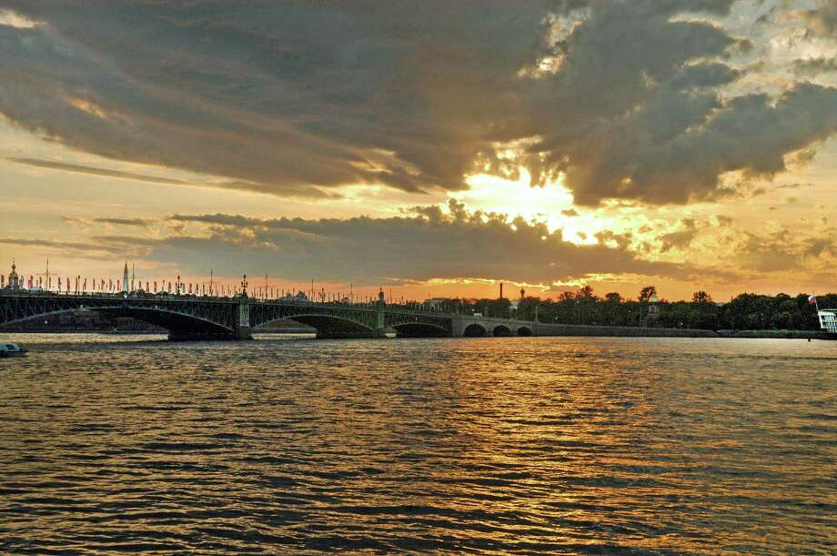 The Neva River is the lifeblood of St. Petersburg, feeding the city's network of tributaries and canals, which are spanned by 340 bridges. Photo: Rob Ryser / Hearst Connecticut Media / The News-Times