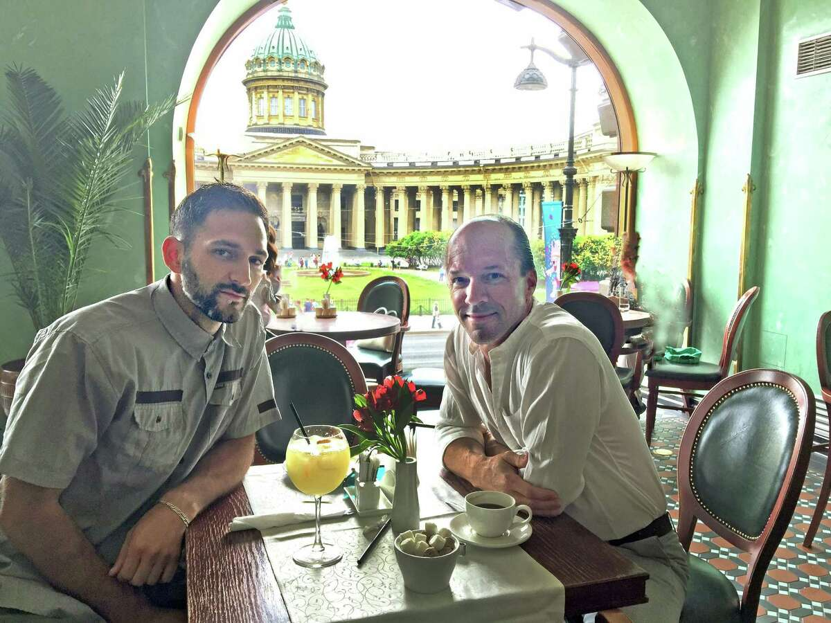 After Mass on Sunday, we had coffee and a cocktail overlooking the Kazan Cathedral in downtown St. Petersburg, one of 12 magnificent Orthodox cathedrals in the city.