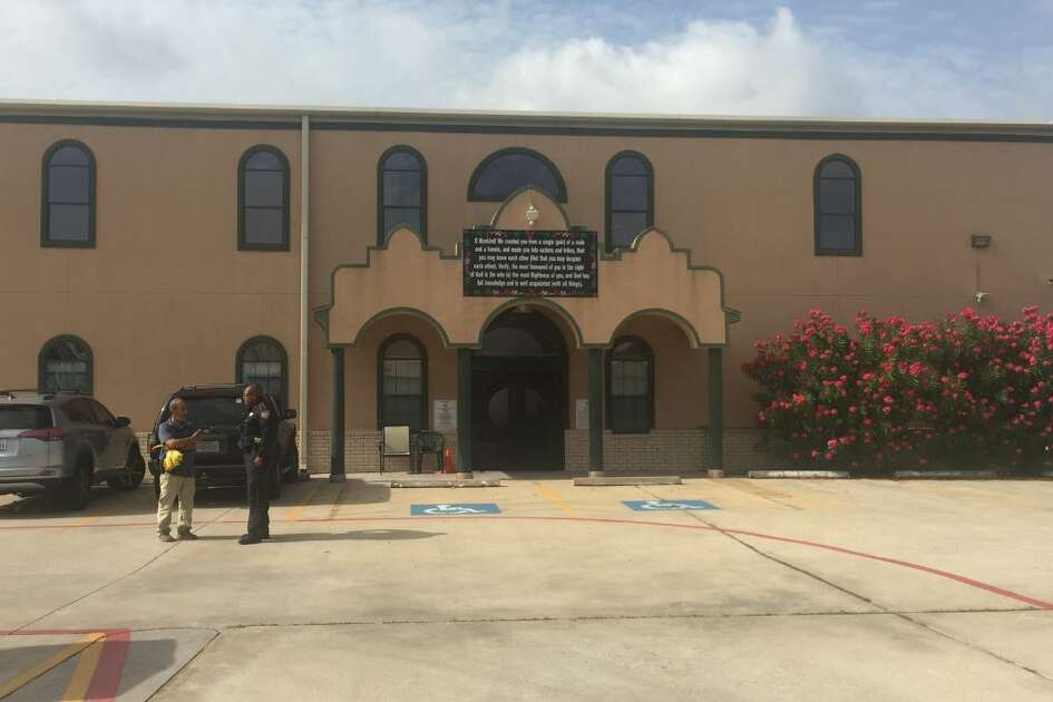 The front door of a mosque on Brownsville Street in Clovereaf is damaged after a fire at the religious building, on Thursday, July 19, 2018. Investigators are asking for help solving the arson case.