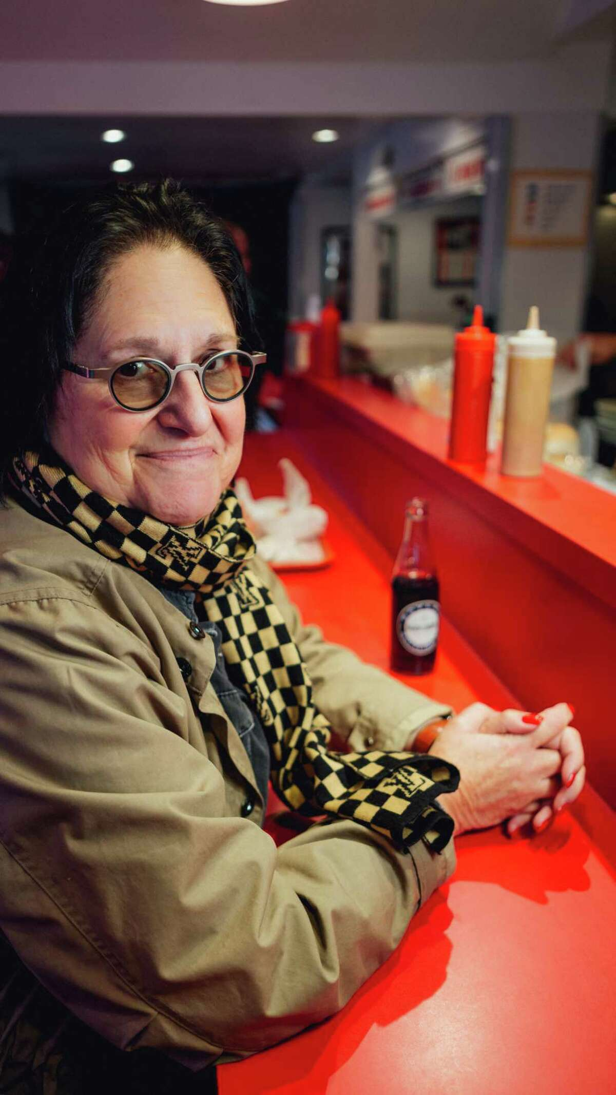 Jane Stern enjoys a meal at Super Duper Weenie in Fairfield in 2017.