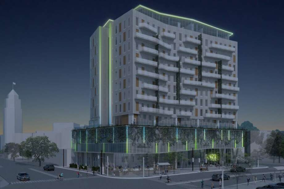 Renderings show what the 13-story apartment building on South Presa Street will look like. The San Antonio Historic and Design Review Committee gave final approval for the plans on July 18, 2018. Photo: Courtesy Of City Of San Antonio
