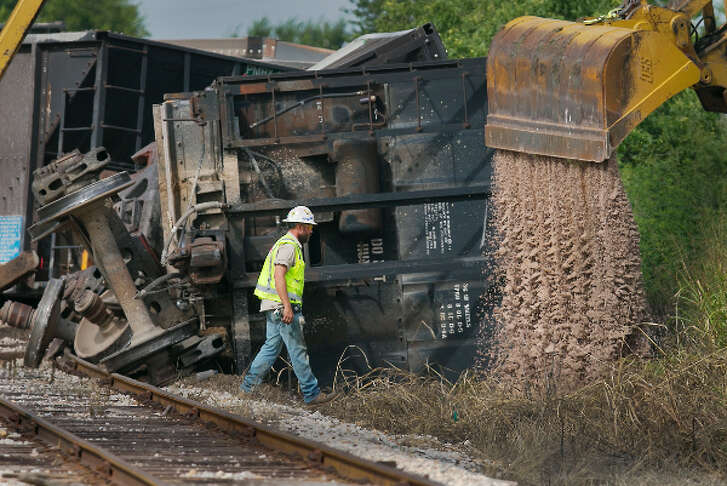 Raliroads and trains, like this one derailed near Austin in July 2018, no longer have anything to do with the Texas Railroad Commission (AUSTIN AMERICAN-STATESMAN, Ralph Barrera, July 10, 2018).