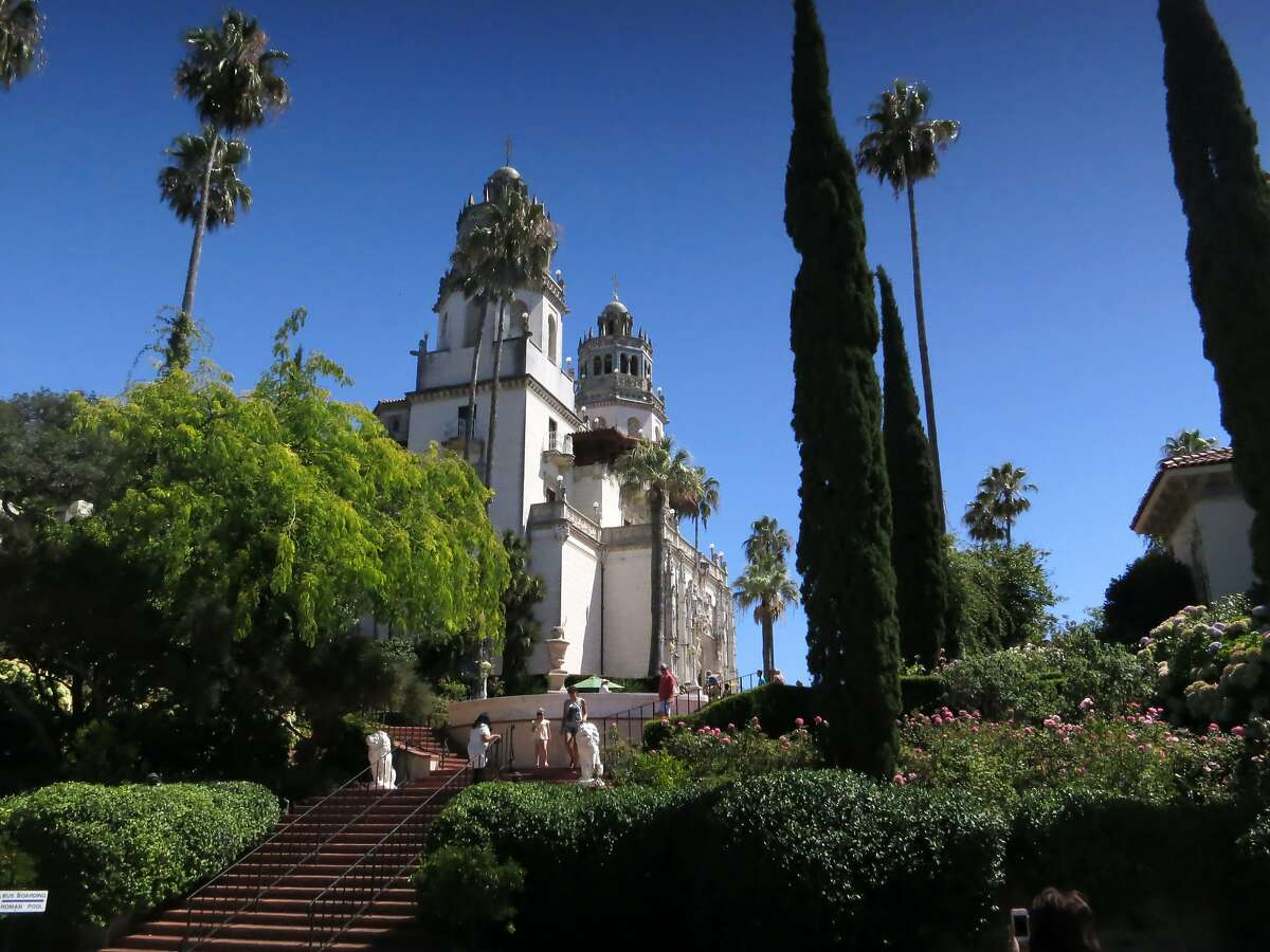 """This Aug. 30, 2013 photo shows the exterior of Hearst Castle, the 165-room estate of newspaper publisher William Randolph Hearst, in San Simeon, Calif. Visitors can tour the estate which he called """"La Cuesta Encantada"""" (""""The Enchanted Hill""""), that overlooks the Pacific Ocean. (AP Photo/Jim MacMillan)"""