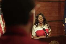 Darian Ward, Mayor Sylvester Turner's former press secretary, shown here in 2016 photo. ( Steve Gonzales / Houston Chronicle )    Scroll through to see allegations in her suspension letter