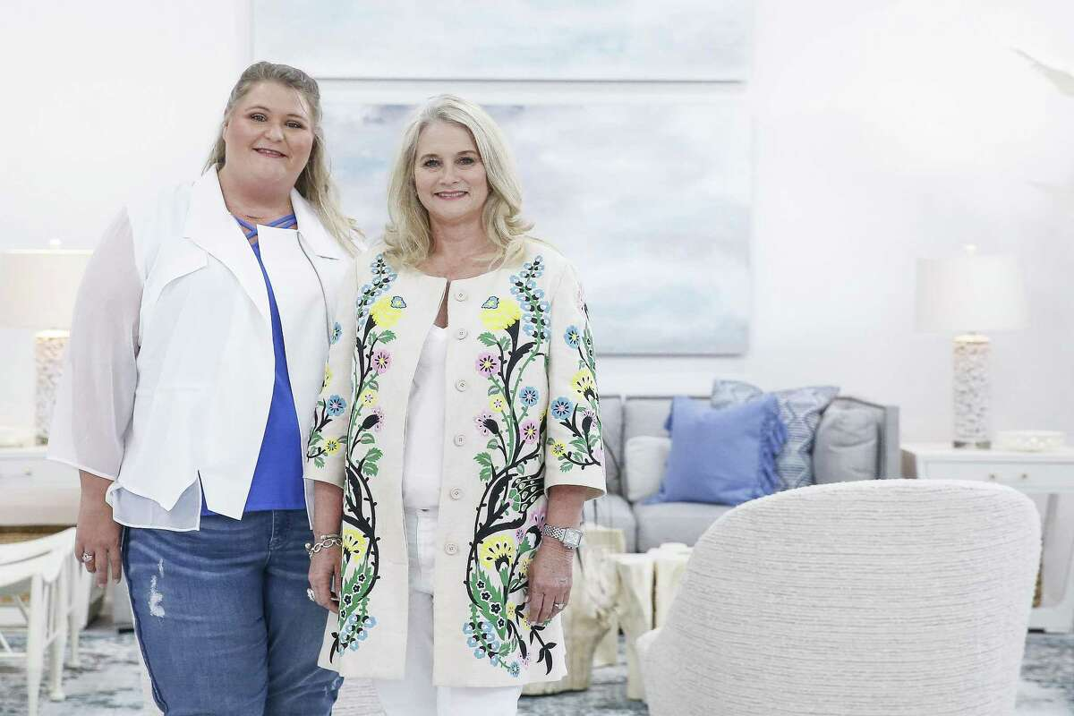 Meet Beth Lindsey and Amanda Whatley: Amanda Whatley, left, and Beth Lindsey of Beth Lindsey Interior Design used a coastal theme for their gray sofa vignette. They used a gray sectional sofa from James Craig Furnishings at the Houston Design Center, two large paintings by Katherine Houston of The Silos, a collection of small-scale paintings by Angela Fabbri of Silver Street Studios and a glass art vessel by Deborah Ellington of Sabine Street Studios.