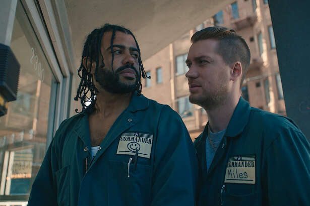 "HANDOUT IMAGE: Daveed Diggs as ""Collin"" and Rafael Casal as ""Miles"" in BLINDSPOTTING. *USE ONLY WITH DIRECT COVERAGE OF (movie), ACROSS PLATFORMS, NO SALES, NO TRADES*. NO SALES. NO TRADES. FOR USE ONLY WITHIN THE MOVIE'S PUBLICITY WINDOW. Image from Lionsgate press site. Photo by: Ariel Nava/Lionsgate."