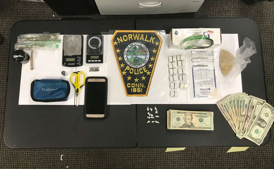 Norwalk police recovered 106 bags of fentanyl-laced heroin, as well as 12 pre-packaged bags and 2.5 grams of loose crack cocaine in a drug bust at a Norwalk motel on Wednesday, July 18, 2018. Photo: Norwalk Police Department