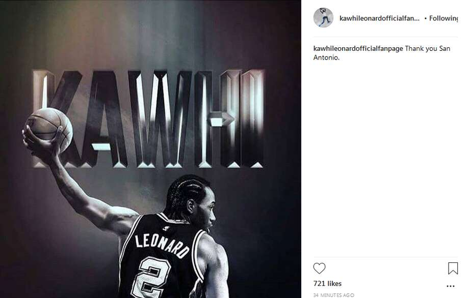 """""""Thank you San Antonio,"""" the caption on a post by the official Kawhi Leonard fanpage reads. Photo: Instagram Screengrab"""