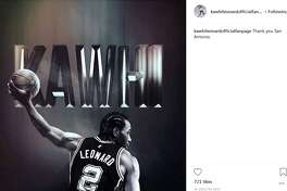 """Thank you San Antonio,"" the caption on a post by the official Kawhi Leonard fanpage reads."