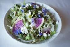 A salad from chef Charleen Badman of FnB in Scottsdale, Arizona. Badman will cook during a James Beard Foundation event at the Hotel Emma in October.