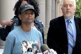 India Landry, 18, at a news conference outside the federal courthouse in Houston on July 19, 2018, as her attorney Randall L. Kallinen announces her lawsuit will move forward. The Landry family sued Cypress-Fairbanks ISD after India was expelled for sitting during the pledge of allegiance.