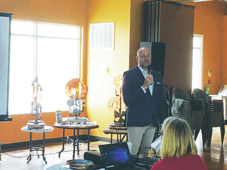 "Illinois Office of Tourism Director Cory Jobe conducts a media tour stop at Grafton Winery & Brewhaus Thursday. He did a media tour through Southern Illinois July 17 through July 19, stopping at several downstate towns along the way, to reveal the latest available regional and state tourism numbers and promote the newest ""makers"" to join the Illinois Made program. Photo:       Jill Moon