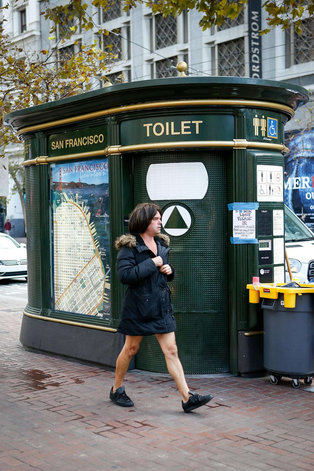 An public toilet seen on Market Street on Thursday, November 9, 2017 in San Francisco, Calif.