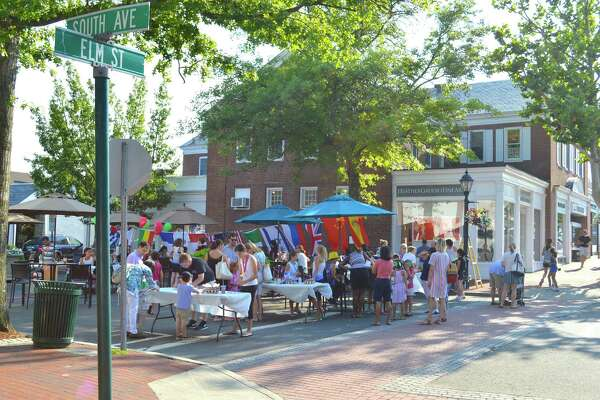 The Pop-Up Park is in operation at the corner of South Avenue and Elm Street, where Friday, August 5, 2016, a YMCA-sponsored event was held celebrating the start of the 2016 Summer Olympics, in New Canaan, Conn.